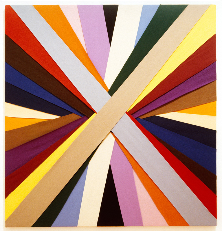 Untitled, (Constructions of Coloured Rays), 1994 Felt on modern stretcher  122 x 112.5 cm